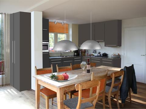 Woonkamer en keuken interieuradvies - Woonkamer met keuken geopend ...
